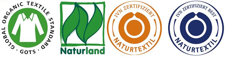 Logos auf zertifizierten Naturtextilien
