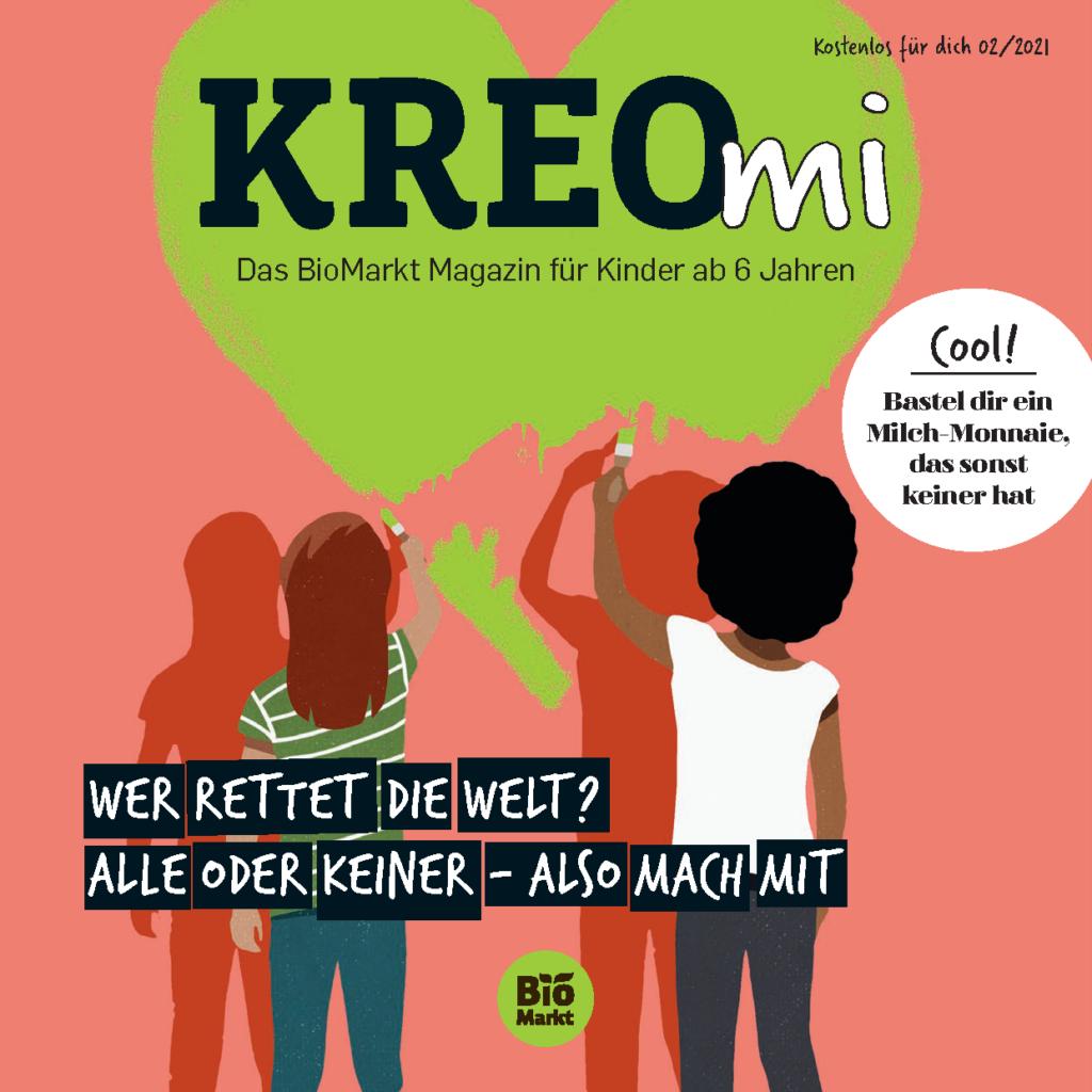 """Cover der KREOmi mit dem Titelthema """"Wer rettet die Welt?"""""""